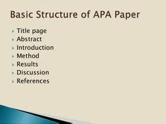 Who to write a paper in apa format